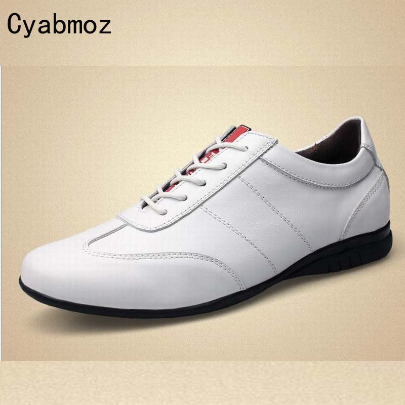 Spring Autumn Men Flats Shoes Genuine Leather Shoes Men Casual Shoes Fashion Luxury Quality Gentleman Black White Zapatos Hombre enmayer spring autumn white red black spring summer autumn fashion new men s women casual shoes flats shoes free shipping