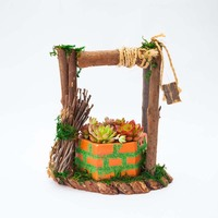 Caioffer Greative Wells Shape Garden Wooden Flower Pots Flower Seed Basket Green Plant Pot For Flower