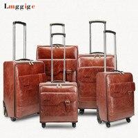 Высокое качество из искусственной кожи сумки на колёсиках Дорожный чемодан чехол, 16 20 24 дюймов Универсальный колеса Сумка для ноутбука, ко