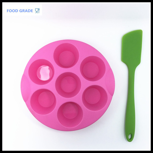 Set Of 2 Coloured Kitchen Utensils 7 Cavities Cupcake Mold Silicone Cup Pans
