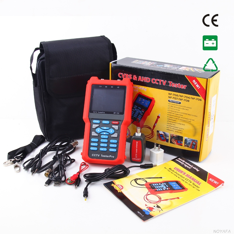 3.5 inch LCD Multimeter CCTV Tester portable cctv security cameras Video Level testing, Audio input and PTZ NOYAFA NF-702 frees shiping new product pro security 2 in 1 cvbs ipc cctv tester 7inch ipc touch screen camera video ptz tester