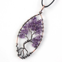 Kraft-beads Unique Copper Tree of Life Pendant Marquise Natural Amethysts Purple Quartz Necklace Femme Collier Jewelry