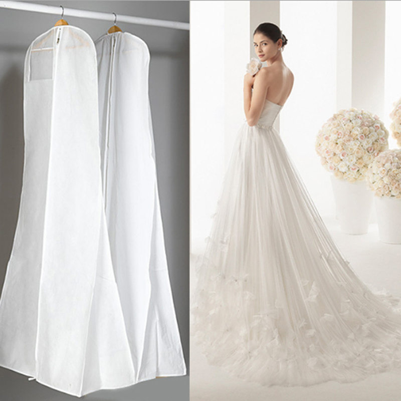 Long High Quality Wedding Dess Bag Cover Evening Dress Dust Cover Bridal Garment Storage Bag New Wedding Dust Cover