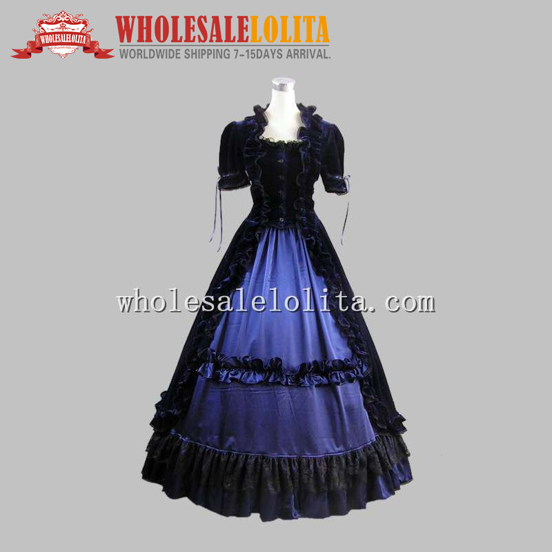 Well Made 2 Pices Blue and Black Gothic Victorian Dress Historical Theatre Costume