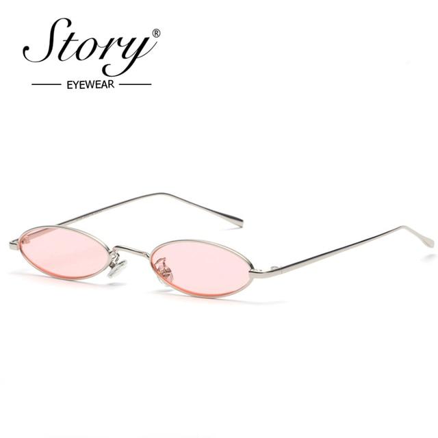 fc6ffa2312c3 STORY 2018 винтажные Ретро маленькие овальные солнцезащитные очки для  мужчин женские золотые металлические рамки розовые прозрачные