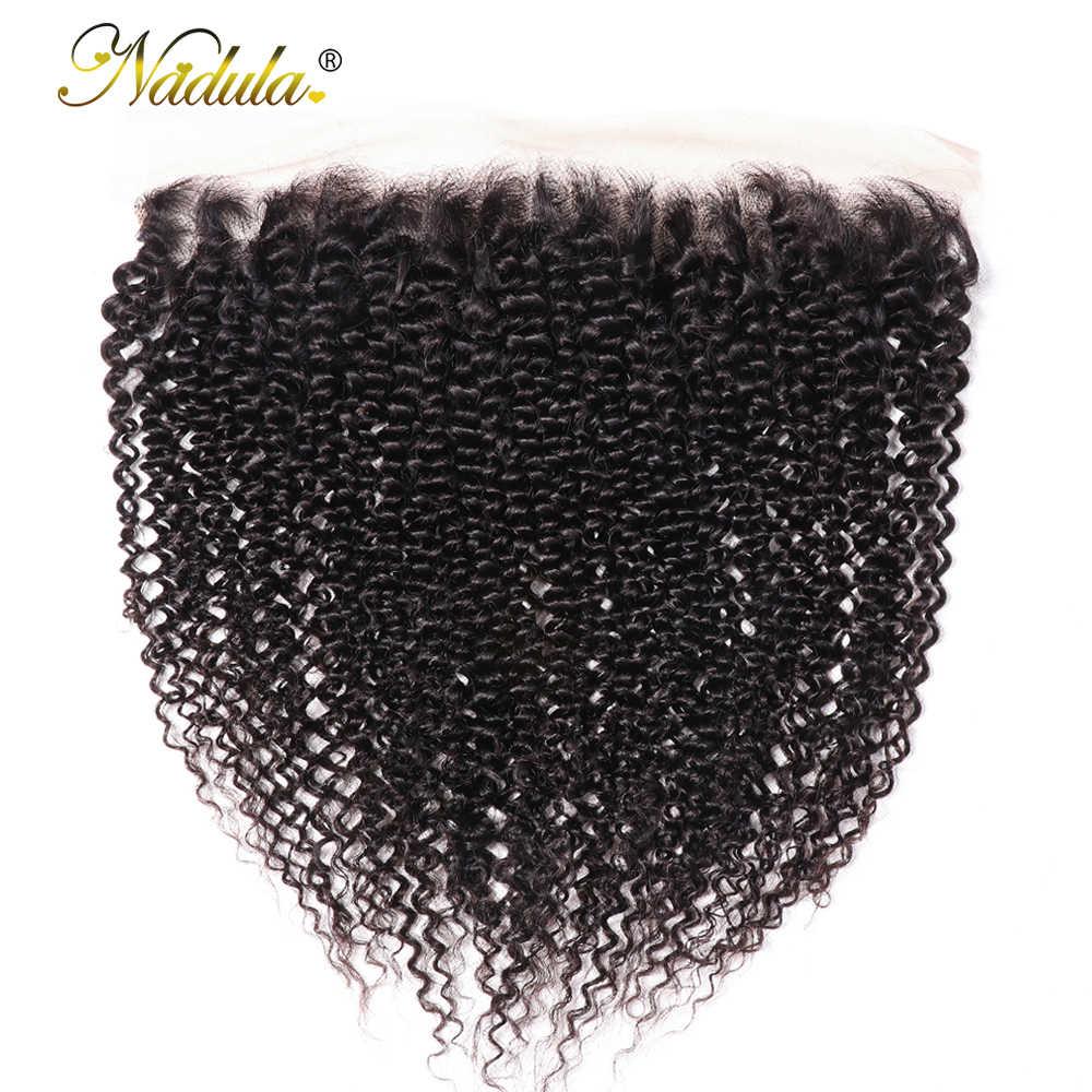 Nadula Hair 13*4 cabello rizado cierre Frontal de malla 100% cabello humano Remy Frontal 10-20 pulgadas cierre Frontal de malla Natural Color