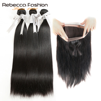Rebecca 360 Lace Frontal With Bundle Brazilian Straight Hair 3 Bundles With 360 Frontal Remy Human