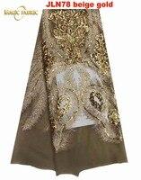 Última tela de encaje del cordón Africano Suizo de la gasa tela de encaje francés para el vestido de boda de moda de alta calidad JLN78