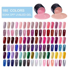 LEMOOC  Color Gel Paint UV Nail Soak Off Art Led Lacquer 180 Colors Glitter Rainbow Painting Polish