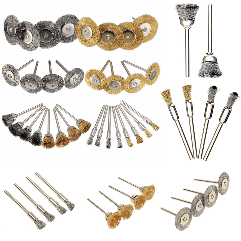 Mayitr 32 Pcs Brass Steel Wire Brush Polishing Wheels Set Kit for Rotary Tool Polish Accessory Bit Set Clean Tools 147 pcs portable professional watch repair tool kit set solid hammer spring bar remover watchmaker tools watch adjustment