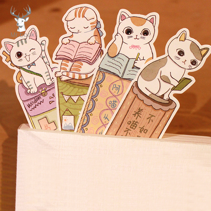 30Pcs/lots Cute Funny Cat Bookmark Paper Cartoon Animals Bookmark Kids Student Gift School Stationery Film Bookmark