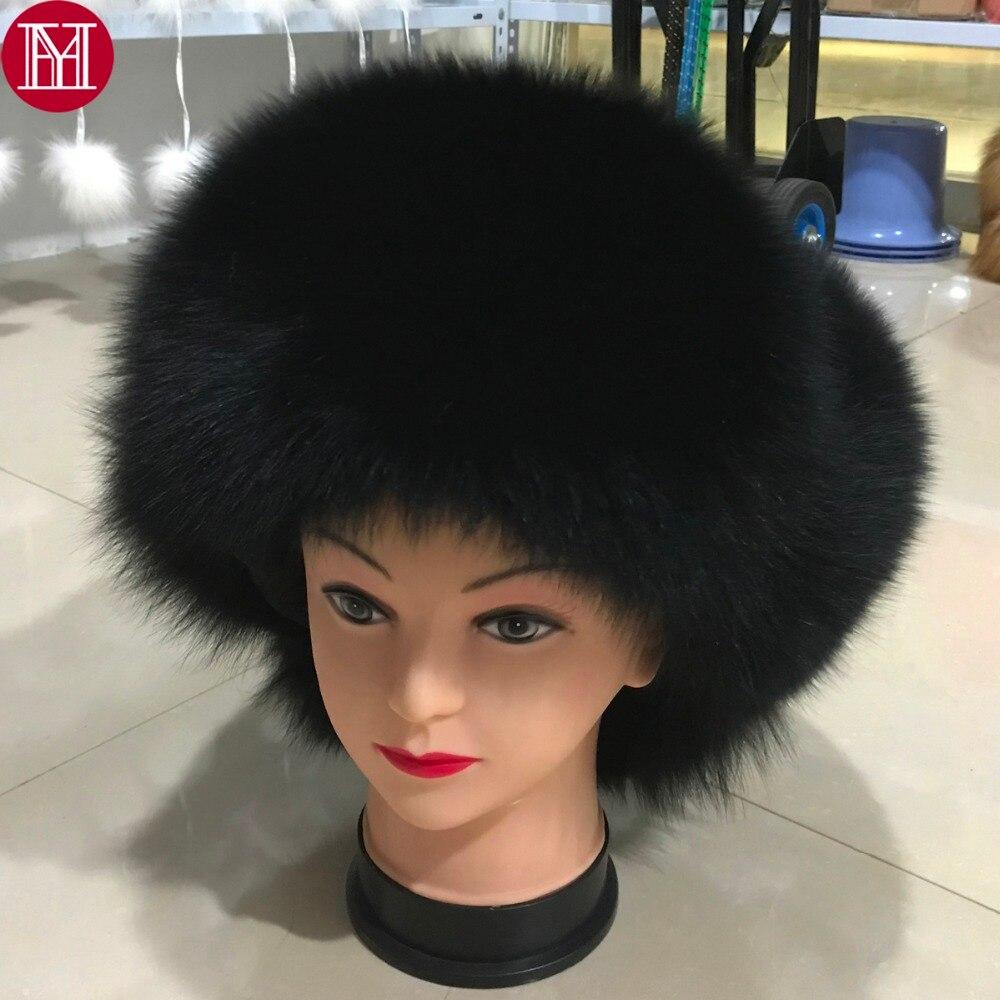 Hat Real-Fox-Fur-Cap Russian Winter Luxury Genuine Warm Men Good-Quality Real-Sheepskin-Leather