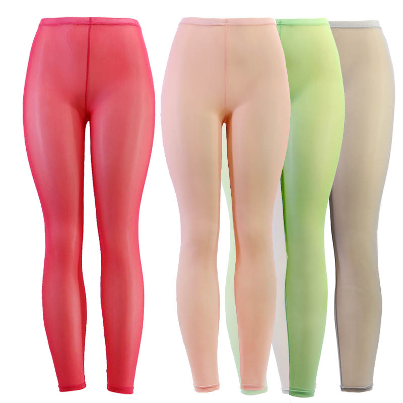 Women Mesh Transparent Leggings See Through Pencil Pants Erotic Lingerie Club Wear Candy Colors Elastic Stretch Pants