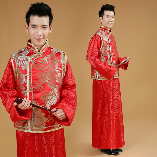 Chinese Style Wedding Dress Men Tang Suit Jacket Male Red Robe Traditional Costume