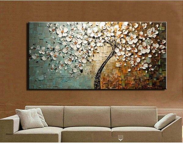 Dipinto a mano spatola dipinti ad olio del fiore su tela - Albero su parete ...