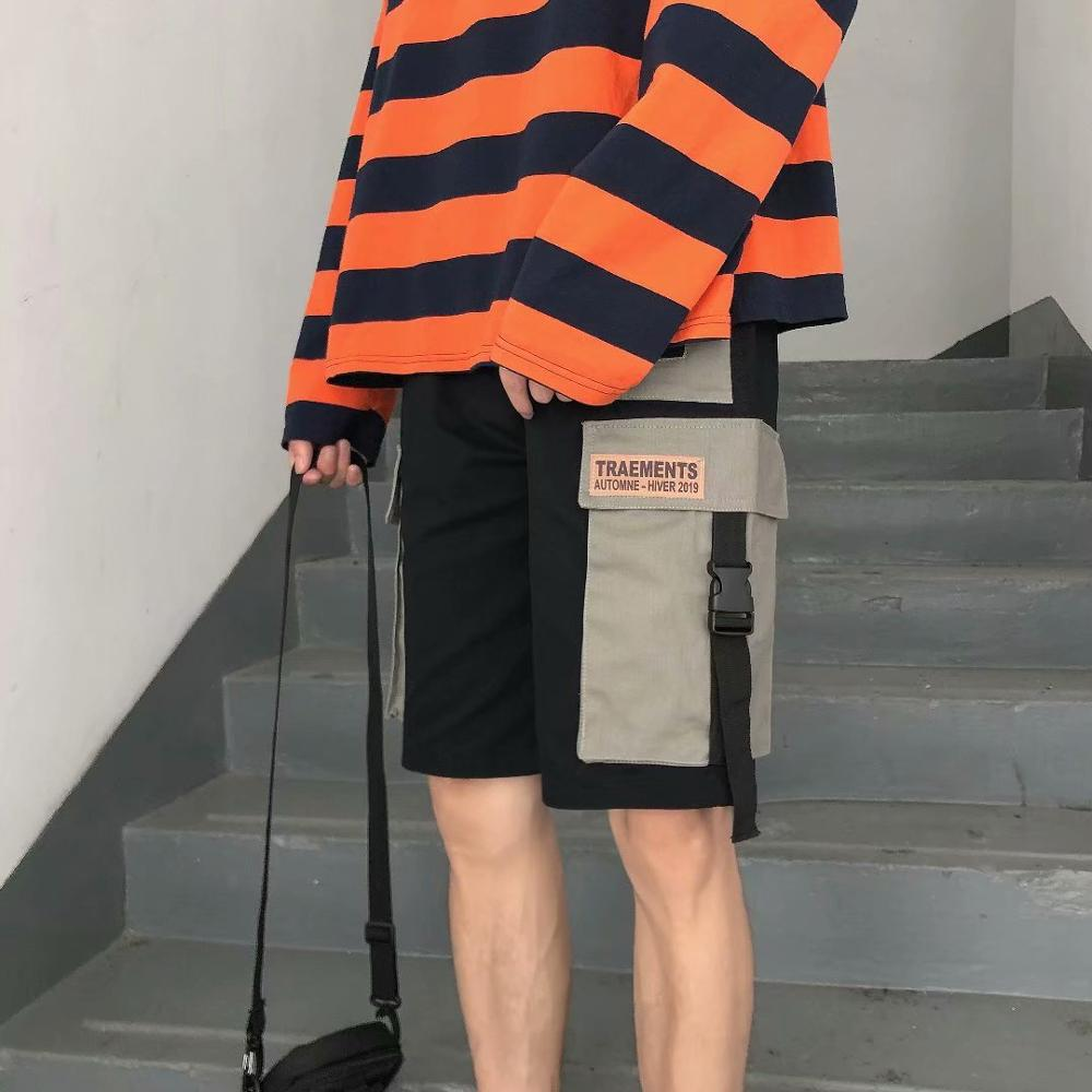 Casual  Knee Length Hip Hop Pocket Man Shorts Short Joggers StreetwearRibbon Hipster