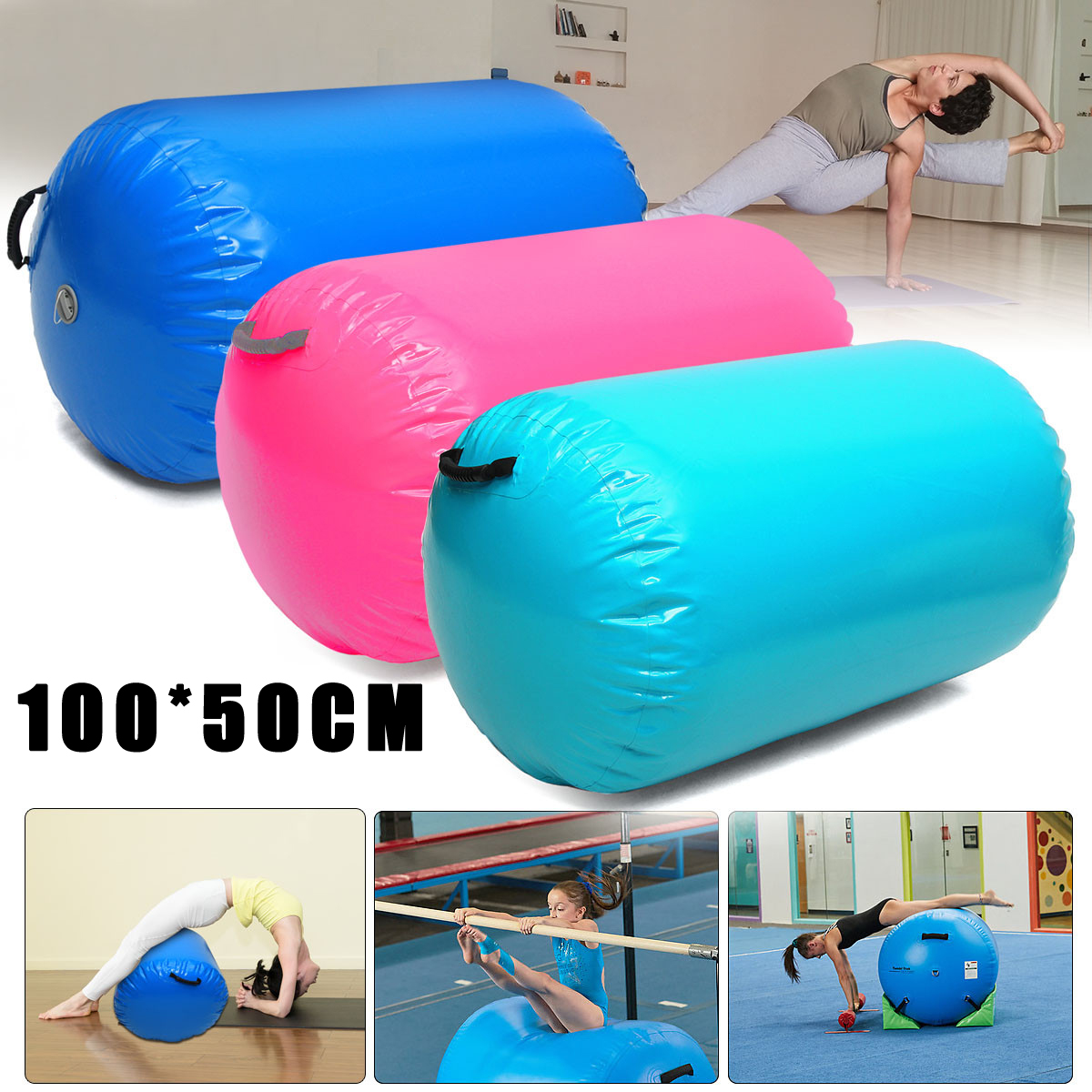SGODDE 1Pcs 100x50cm Inflatable Custom Made Pvc Gymnastics Gym Air Mat Fitness Body Building Gymnastics Track Roller Mat Tools