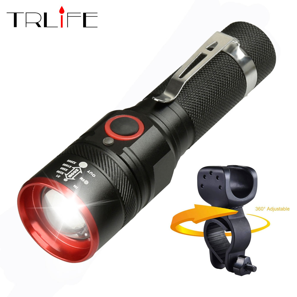 Bike Light Ultra-Bright 8000 Lumens Zoom T6 Bicycle Front LED Flashlight Lamp USB Rechargeable Cycling Light By 18650 Battery