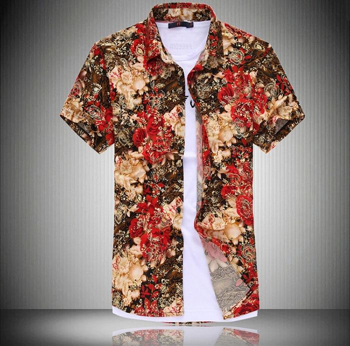New designer fashion mens dress floral shirts men shirt short ...