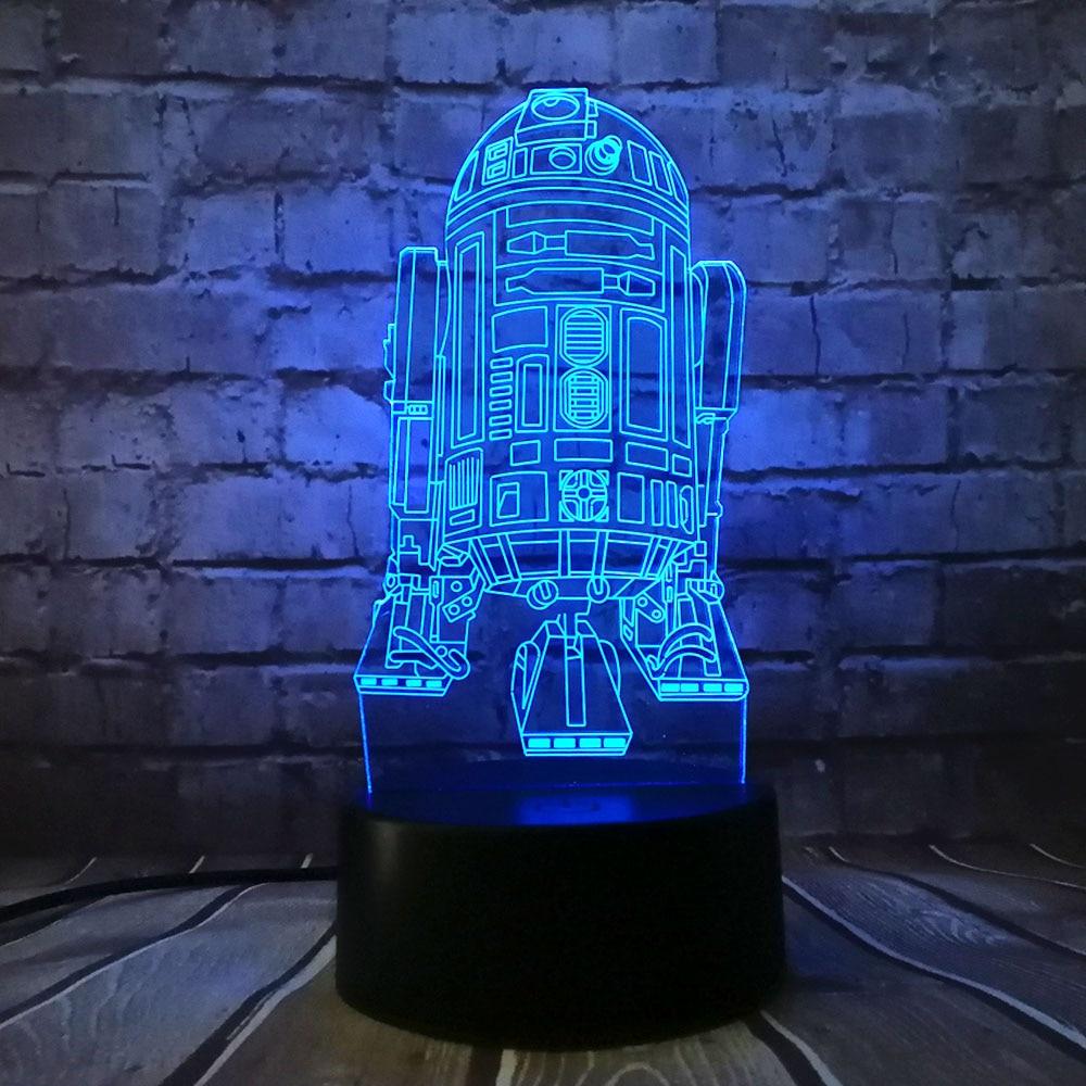 Yeni 3D Star Wars Savaş Gemisi R2D2 7 Renkler LED USB Değişim Masa - Gece Lambası - Fotoğraf 3