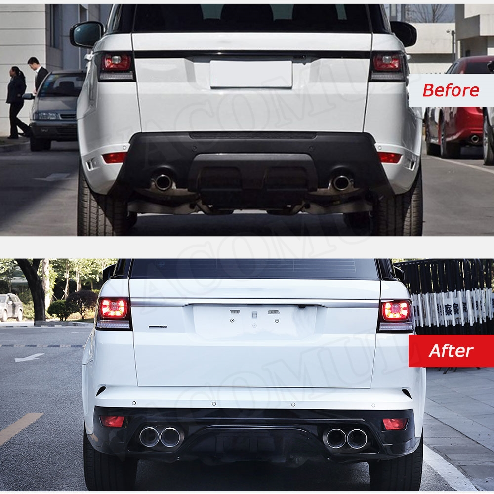pp body kits front bumper grills rear bumper with exhaust tips for land rover range rover evoque sport to svr car styling