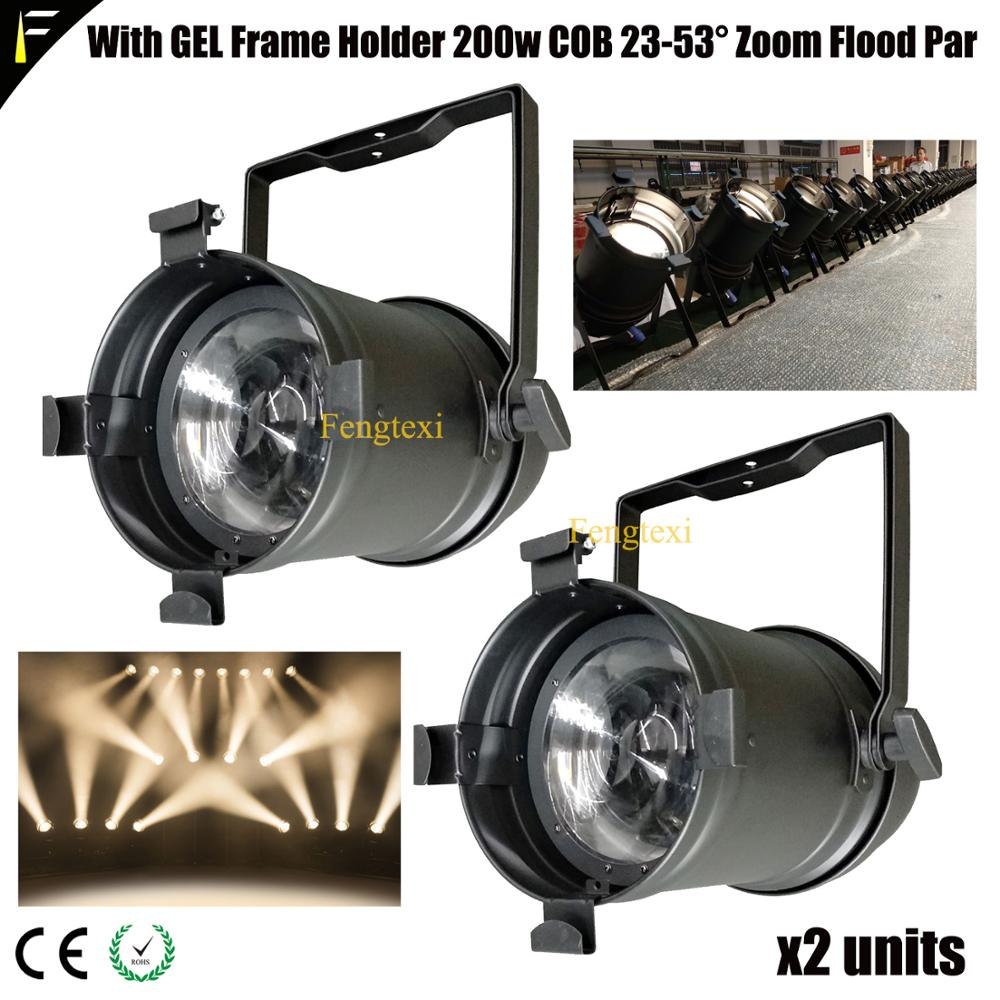 2*Front Light Par64 LED 3000k/5600k 200w Zoom Par Headlight Stepless Zoom Par Can Ideal To Tv Studio Theatre Wedding Lights Fill