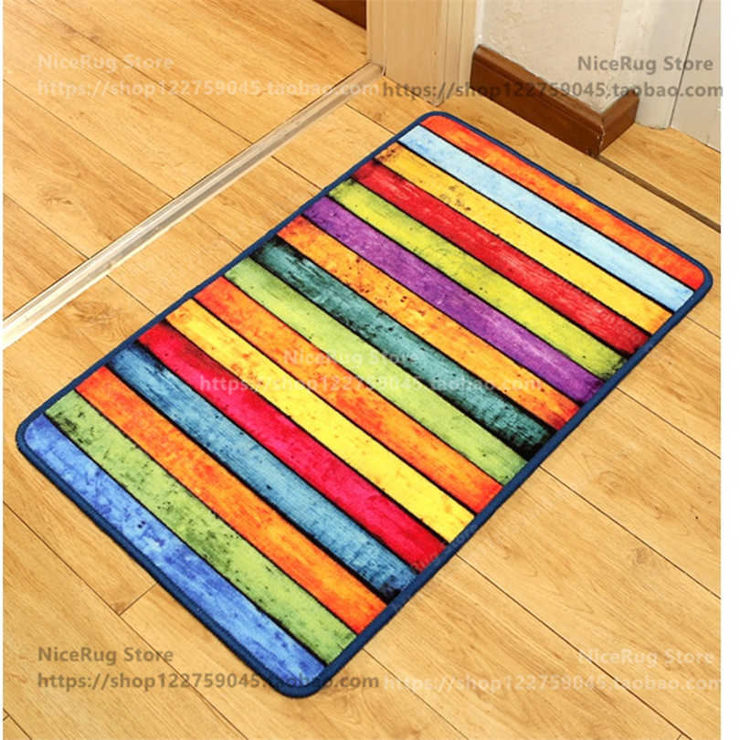 Retro Rainbow Striped Carpet Colorful Rugs Anti Slip Door Mat Beautiful  Blanket Can Be Customized