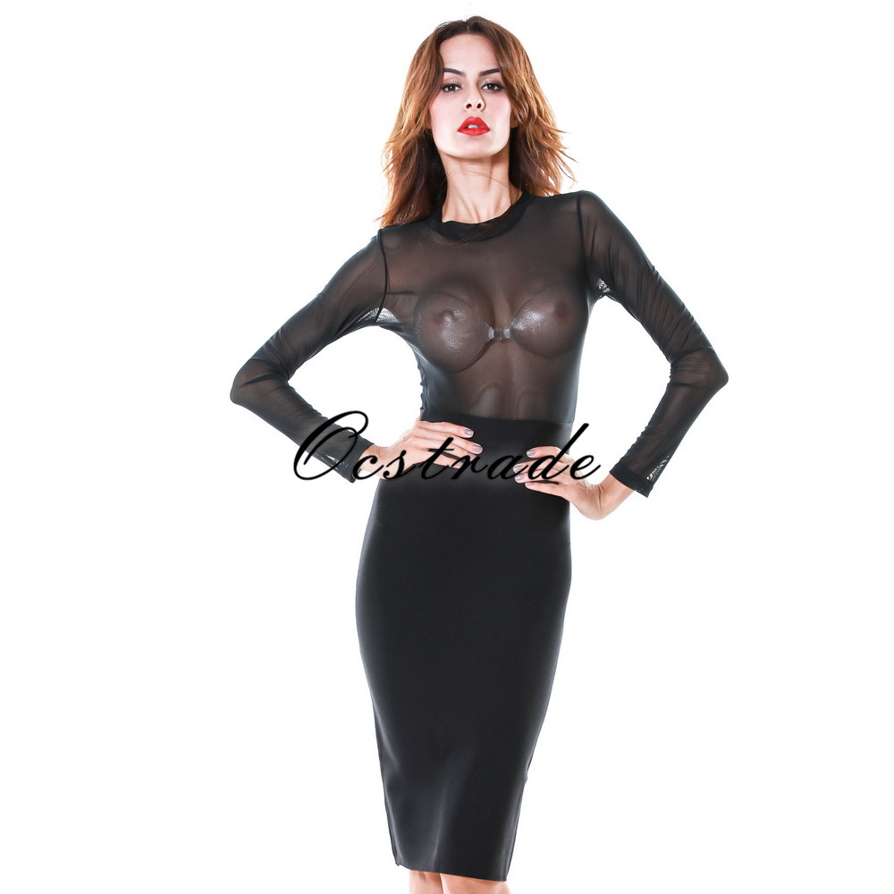 af626af6f692b US $38.96 15% OFF|Woman's Summer Fashion 2016 Pink Olive Black Long Sleeves  Mesh Bandage Dress Sexy Bodycon Party Dresses-in Dresses from Women's ...