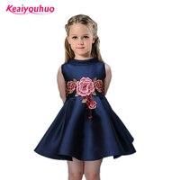 On Sale 2016 New Summer Style Flower Dresses For Girls Sleeveless Girls Dresses Birthday Party Dress