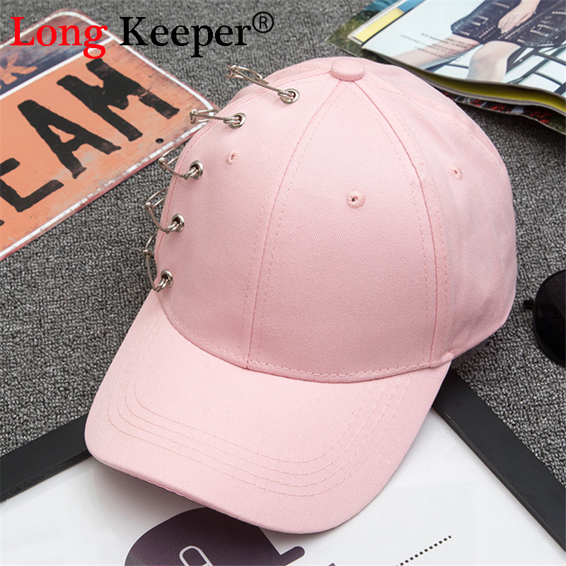 Long Keeper 2017 GD Safety Pin Hiphop Men Cotton Cap Summer Ring Black Baseball Cap Outside Curved Hats White Black 3 Color