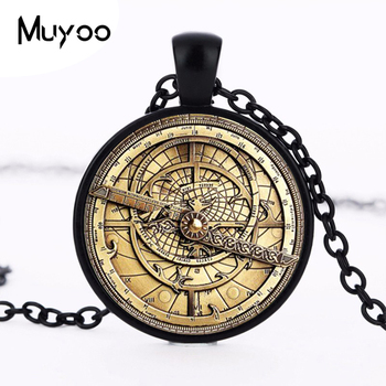 Steampunk Mysteries BILL CIPHER WHEEL Necklace Glass mens astrolabe women best friends Pendant HZ1 image