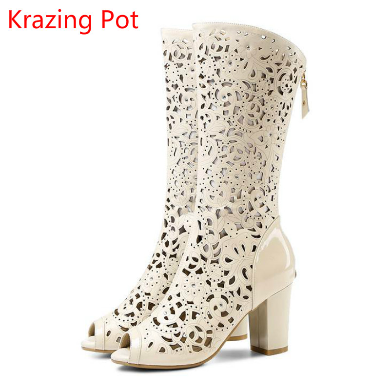 ФОТО 2017 New Fashion Brand Shoes Cut Outs Hollow Crystal Peep Toe Women Summer Boots High Heels Runway Party Superstar Shoes 3-1