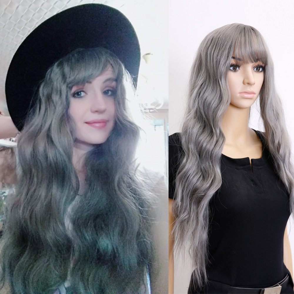 Allaosify Long Wavy gray Wig Womans Heat Resistant Synthetic Female Wigs For Black White ...