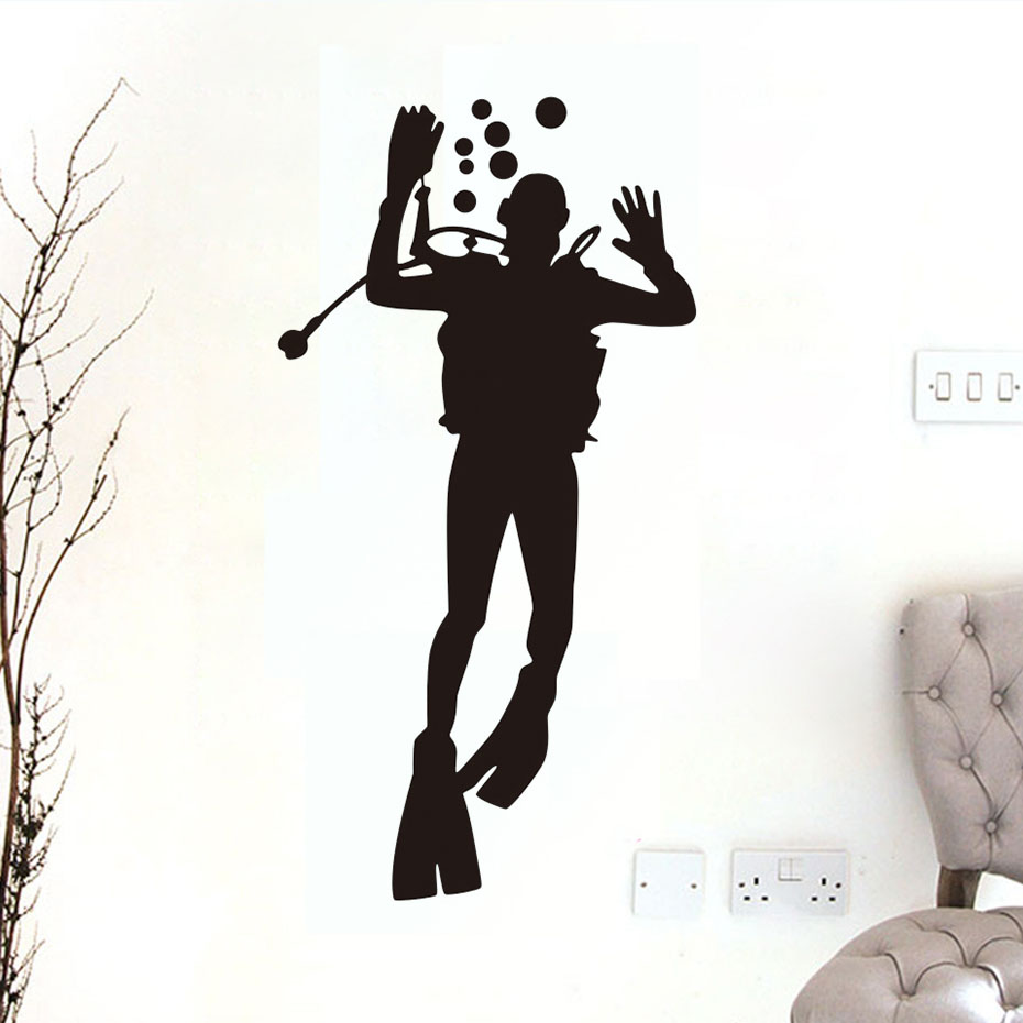 dctop big size diver glass wall decal bathroom door decorative diy removable waterproof wall sticker for