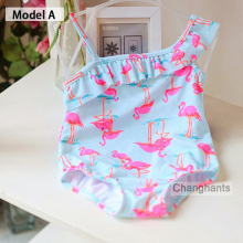 new model cute baby girl font b swimwear b font one piece with Flamingos pattern 1