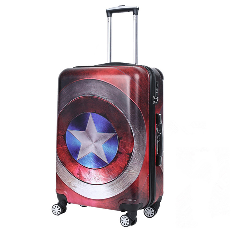 High Quality 20 24 Women Cartoon travel trolley Girls Rolling Luggage bags Men ABS PC Pull Rod trunk rolling spinner wheels