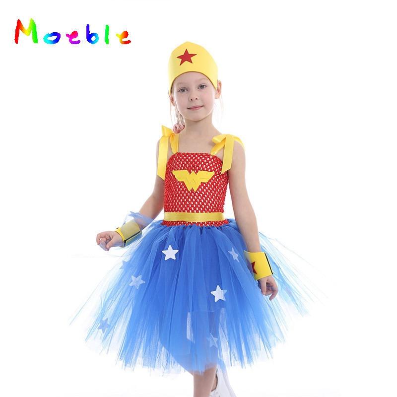 Wonder-Woman Girl Cosplay Costume Tutu Dress Princess Kids Party Dresses Prom Dance Dress girl Clothing Blue Vestidos