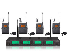 лучшая цена Pro 4x100Ch Ture Diversity Wireless Microphone Mic System 4 Bodypack with Lapel Mic