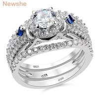 New 3 Pcs Solid 925 Sterling Silver Halo Wedding Ring Sets Round Cut CZ Fashionable Jewelry
