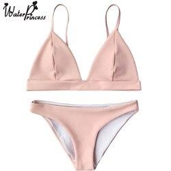 Water princess cami plunge bralette bikini set 2017 new sexy pink red bathing suit push up.jpg 250x250