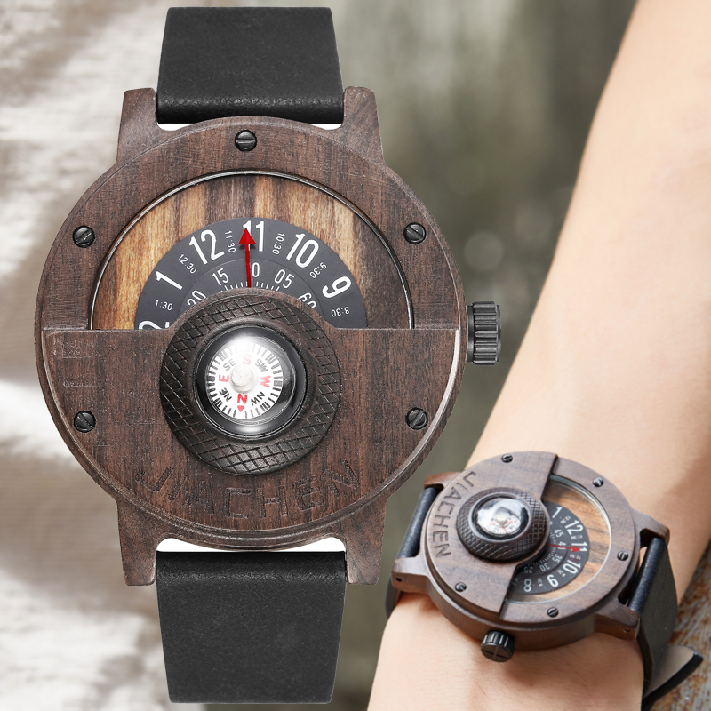 Creative Turntable Number Mens Wood Watch Male Men