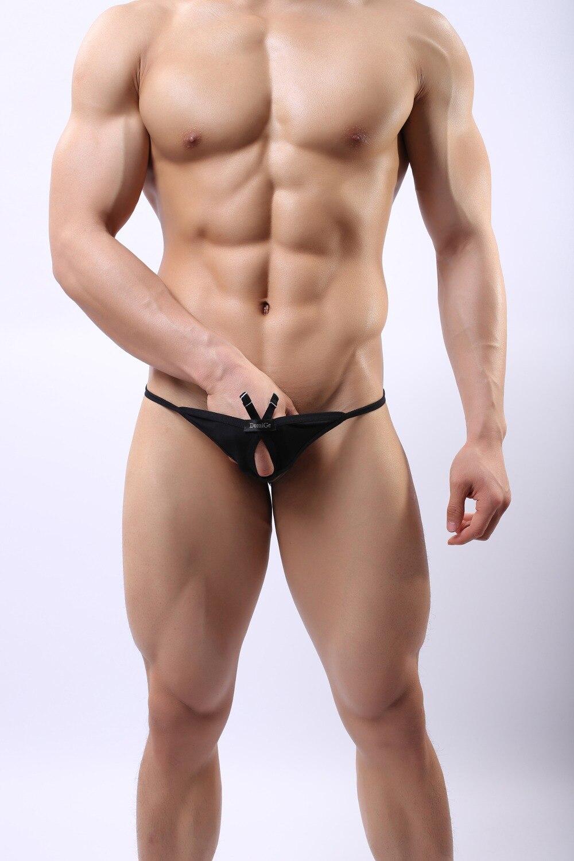 DomiGe Sexy Men G-String Underwear Pouch Brief Thong Bikini Opening Panty 5101