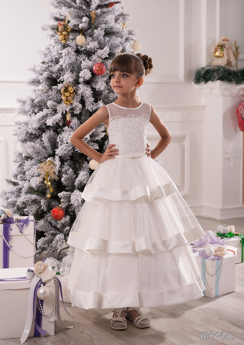Stunning Lace Appliques Sleeveless Floor Length Ruffle Tulle Ball Gowns Holy First Communion Kids Flower Girls Dresses 0-14 Y new arrival flower girls dresses high quality lace appliques beading short sleeve ball gowns custom holy first communion gowns