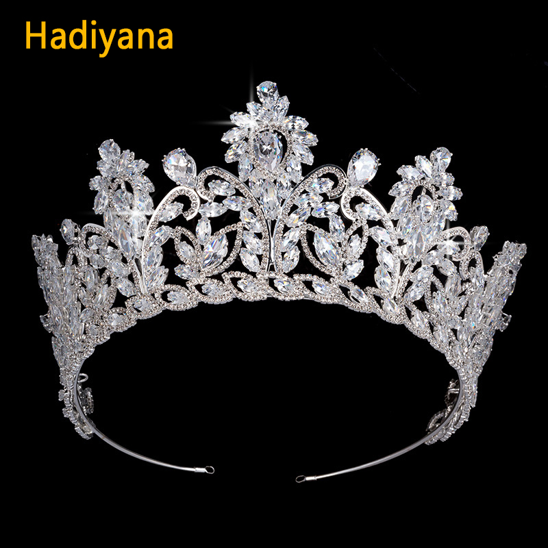 Hadiyana Luxury Crystal Zircon Bridal Crown Tiaras Gold Diadem Tiaras For Women Bride Wedding Hair Accessories For Copper BC4628 00009 red gold bride wedding hair tiaras ancient chinese empress hair piece