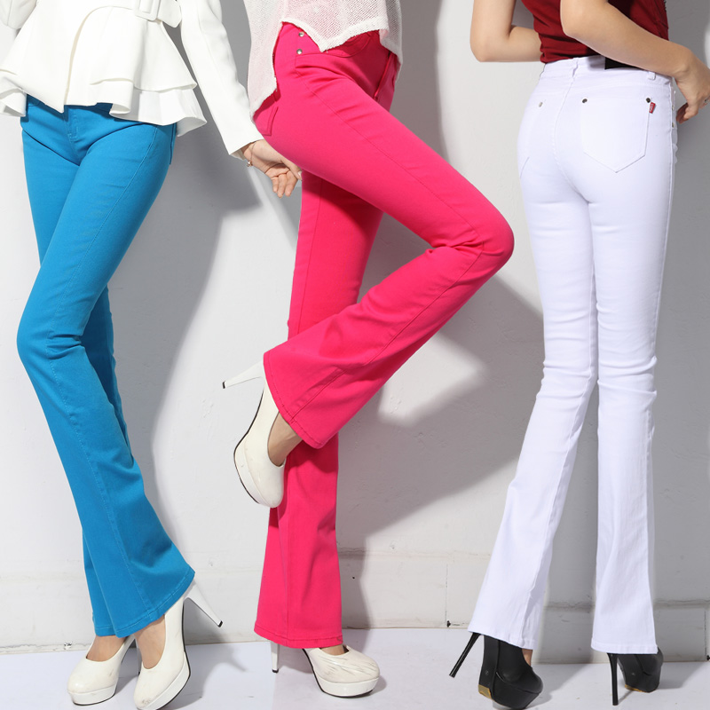2017 Boot Cut Female Elastic Slim Wide Leg Pants Candy Color Mid Waist Women's Casual Trousers Straight Jeans TA318