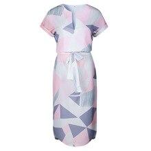 Geometric Print Dress Women V Neck Short Sleeve 2017 Woman Summer Dresses Casual Sashes Robe Midi Dress Ladies Elegant Vestidos