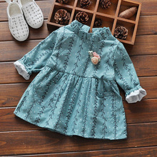 New Spring Autumn Retro casual Long Sleeve baby girls Willow branches dresses princess infant tutu o