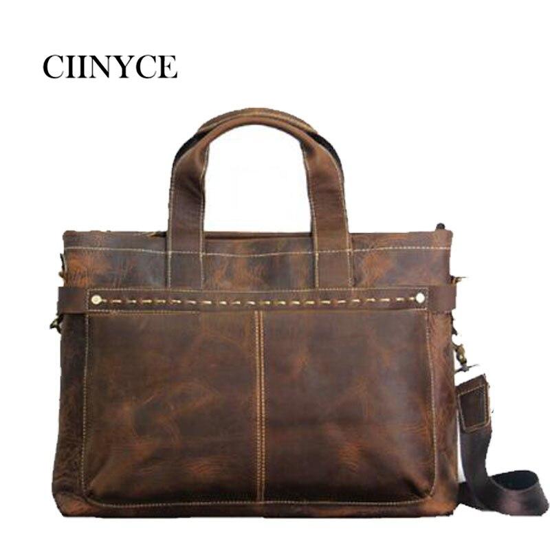 2018 Original Brand Crazy Horse Leather Laptop Briefcases Best Selling  Genuine Cowhide Men s Shoulder Bag Vintage Handbag fefd784978