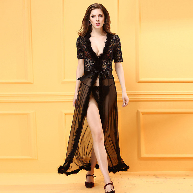 Buy 2016New Ladies Erotic Sexy Dresses Women Sexy Sleeping Coat Underpant  Female Lace Lingerie Sets Lace Sexy Sleeping Coat