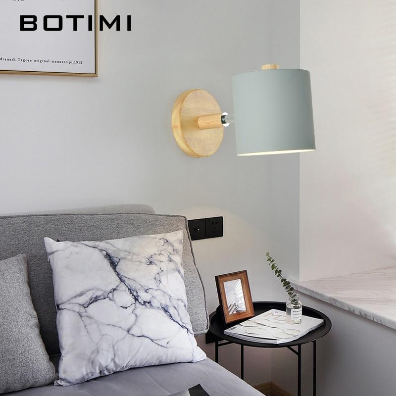 BOTIMI Nordic LED Wand Lampe Für Schlafzimmer Lesen Wand Leuchte Nacht  Luminaira Moderne Holz E27 Wand Montiert Leuchten